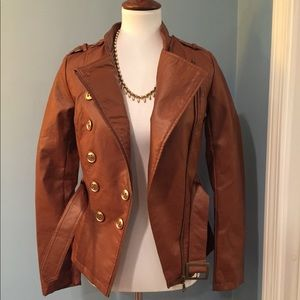 Tan Brown Faux Leather Jacket